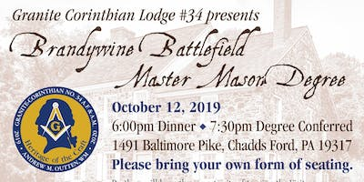 Granite Corinthian Lodge #34 Brandywine Battlefield Degree