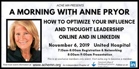 Anne Pryor: How to Optimize Your Influence and Thought Leadership Online tickets