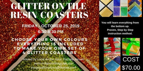 Glitter on Tile Resin Coasters Workshop tickets