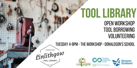 Transition Linlithgow Tool Library: Open Workshop, Tool Borrowing and Volunteering tickets