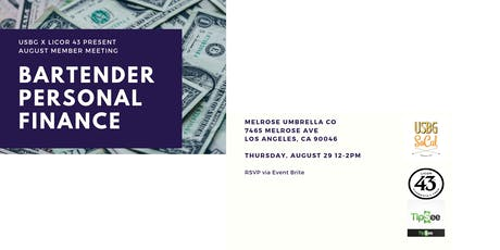USBG SoCal August Meeting- Personal Finance for Bartenders tickets