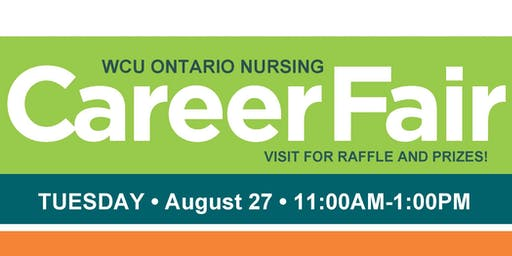 STUDENTS REGISTER NOW for WCU Ontario Summer Career Fair Tuesday, 8/27/2019