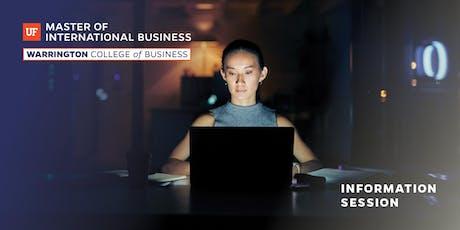 UF Master of International Business Information (MIB) Session tickets