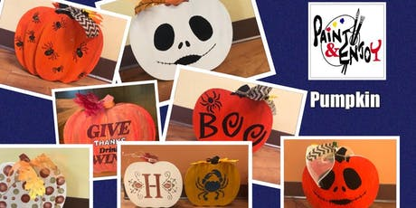 """Paint and Enjoy at Naylor Wine Shoppe Wood Shape """"Large Pumpkin"""" tickets"""