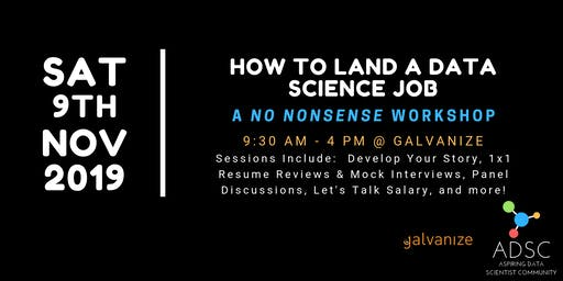 How to Land A Data Science Job: A No Nonsense Workshop