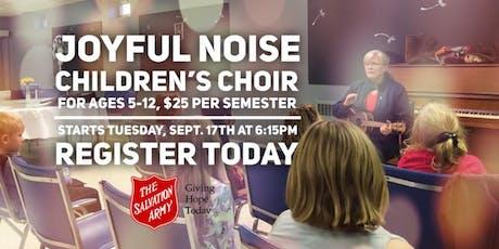 Joyful Noise Children's Choir for ages 5-12.  Fall semester registration. tickets