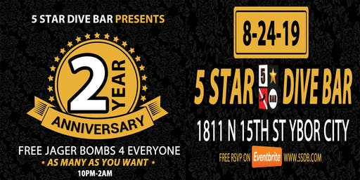 2 YEAR Anniversary Party - FREE JAGER FOR ALL - ALL NITE