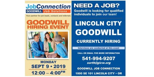 Goodwill is Hiring - Lincoln City - 9/9/19
