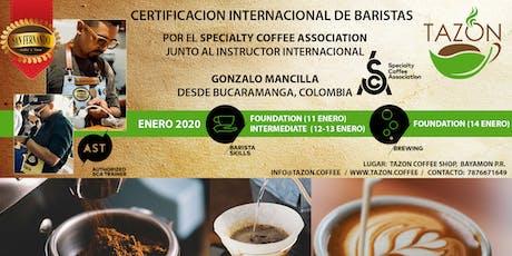 Certificación Internacional de Barista por el SCA tickets