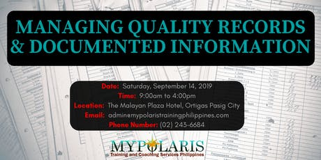 Managing Quality Records & Documented Information tickets