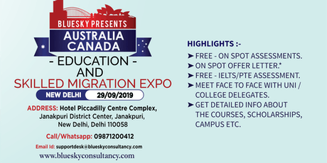 Australia and Canada Education And Skilled Migration Expo 2019 tickets