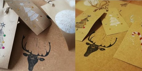 LINO PRINTED CHRISTMAS CARDS AND TAGS tickets