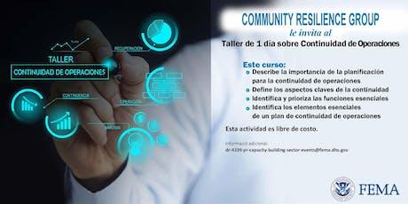 Taller De Continuidad De Operaciones(COOP) tickets