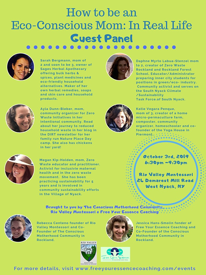 How to be an Eco-Conscious Mom: Dinner, Raffle & Panel Discussion image