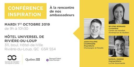Les Rdv du repreneuriat - Conférence Inspiration Tourisme au Bas-St-Laurent billets