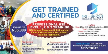 PROFESSIONAL HSE LEVEL 1, 2 & 3. Lagos is another one for you !!! tickets