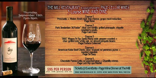 Page Wine Dinner at The Mill