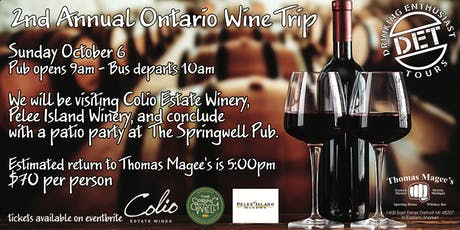 Thomas Magee's Annual Ontario Wine Tour  tickets