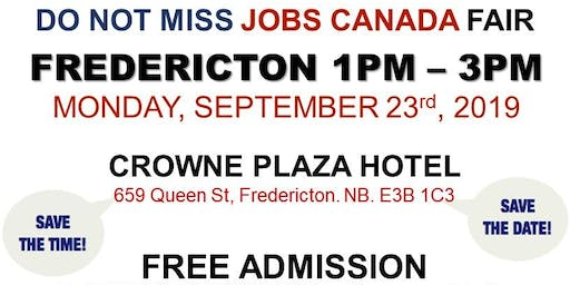 Fredericton Job Fair – September 23rd, 2019