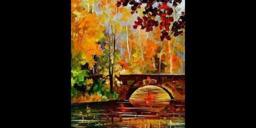 Fall Bridge in the Woods
