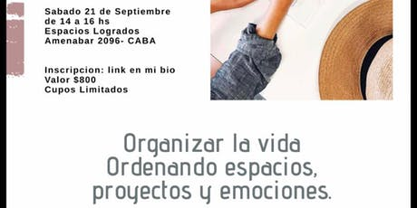 Workshop: Organizar la vida, ordenando espacios, proyectos y emociones entradas