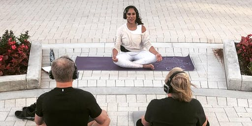 Sunset Outdoor Silent Yoga at Lincoln Common with Resonation Space
