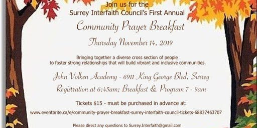 Community Prayer Breakfast - Surrey Interfaith Council