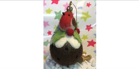 NEEDLE FELTED ROBIN ON A CHRISTMAS BAUBLE tickets