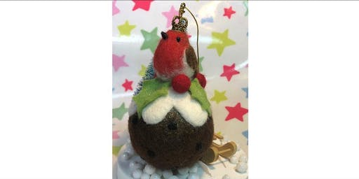 NEEDLE FELTED ROBIN ON A CHRISTMAS BAUBLE