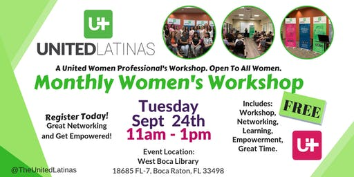Monthly Women's Workshop- Sept 24th, 2019