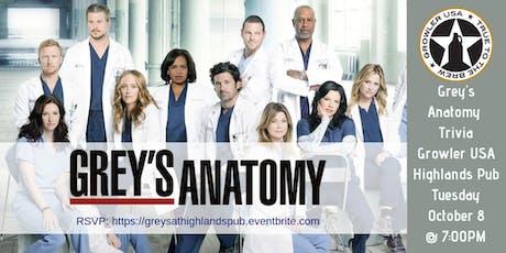 Grey's Anatomy Trivia at Growler USA Highlands Pub tickets