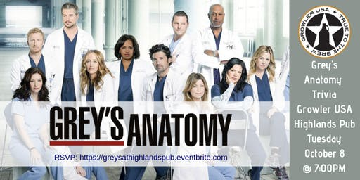 Grey's Anatomy Trivia at Growler USA Highlands Pub