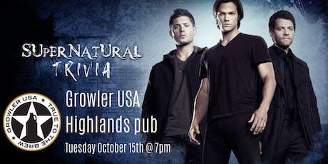 Supernatural Trivia at Growler USA Highlands Pub tickets