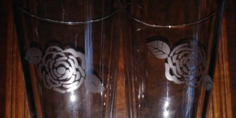 Glass Etching on a pair of beer glasses tickets