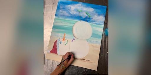 Beach Snowman: Kent Narrows, Harris Crab House with Artist Katie Detrich!