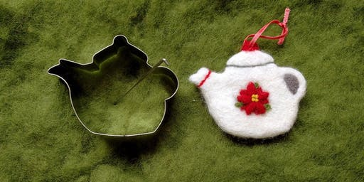 Needle Felt Teapot Ornament with a Pot of Tea