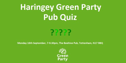 September Haringey Green Party Pub Quiz
