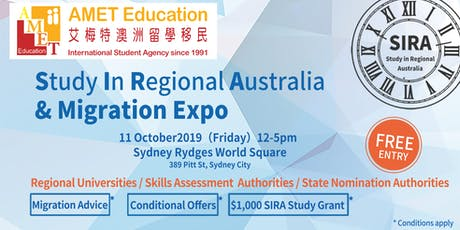 Sydney - AMET SIRA (Study In Regional Australia) & Migration Expo  tickets
