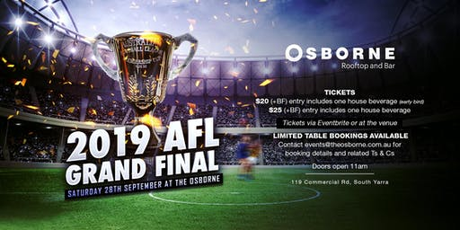 2019 AFL Grand Final @ The Osborne Rooftop & Bar