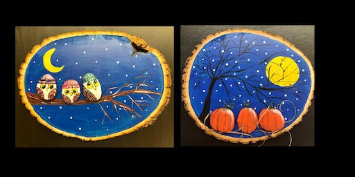 """Adult Open Paint (18yrs+)   """"Design Your Own 3D Stone Creations on a Wood Slice"""""""