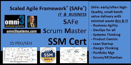 SSM-Cert-SAFe-Scrum Master~Bloomington-Business-agile-XP-kanban-product-PDU