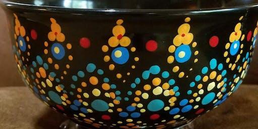 Painted Mandala Bowl at Uva Wine Bar
