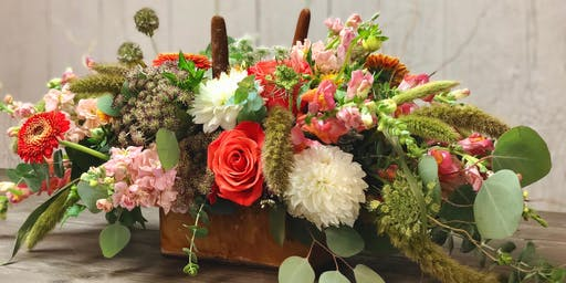 Wine  and Design - Floral Design Class, Fall Centerpiece
