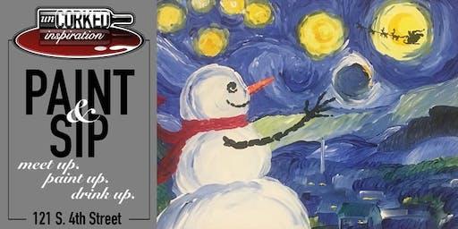 Paint & Sip   Snowy Night by Van Snow