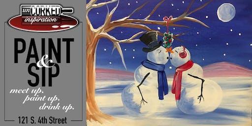 Paint & Sip   Snow Kisses