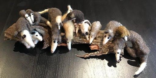 Needle felt your own opossum family