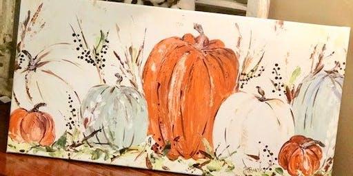 "Autumn Folklore Pumpkins - 12x24"" - Acrylic Painting Class - Spencer"