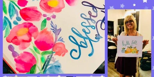 Autumn Floral Monograms/Greetings - Beginner's EVENING Watercolor Class - Mount Ulla