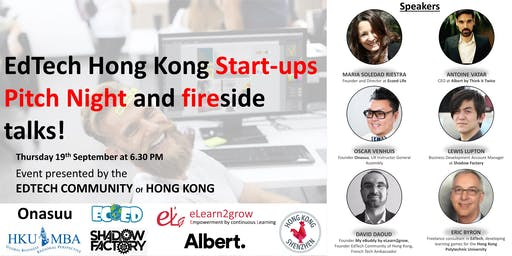 EdTech Hong Kong Start-ups Pitch Night and fireside talks! Mix and Drink of September