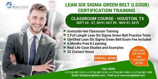 Lean Six Sigma Green Belt (LSSGB) Certification Training Course in Houston, TX, USA.